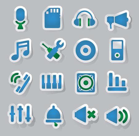 marketting: Set of audio stickers - vector illustration Illustration