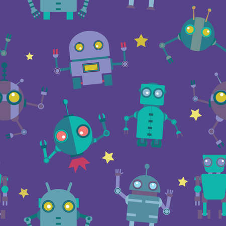 Seamless Robots pattern- illustration Vector