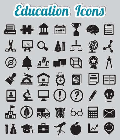 COGNICION: Conjunto de 50 iconos - iconos de educación Vectores