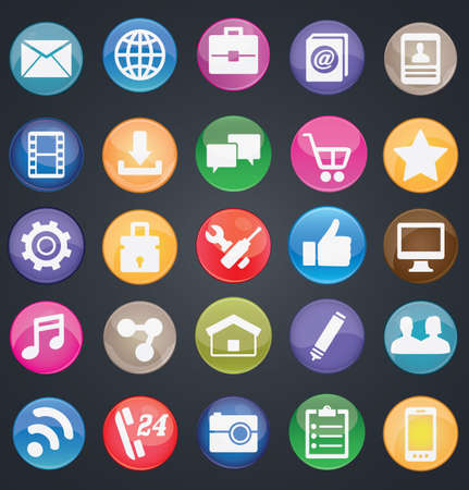 Set of social media buttons for design - part 1 - icons Vector