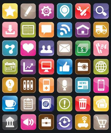 iconos: Conjunto de botones de medios sociales para el diseño - iconos