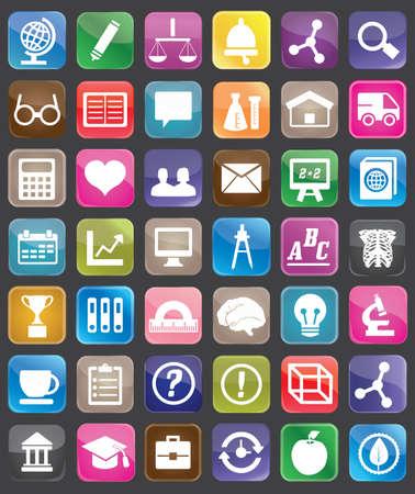 COGNICION: Ajuste de la educación y la ciencia para el diseño de botones - Iconos Vectores