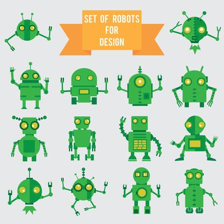 Set of green robots for design - illustration Vector