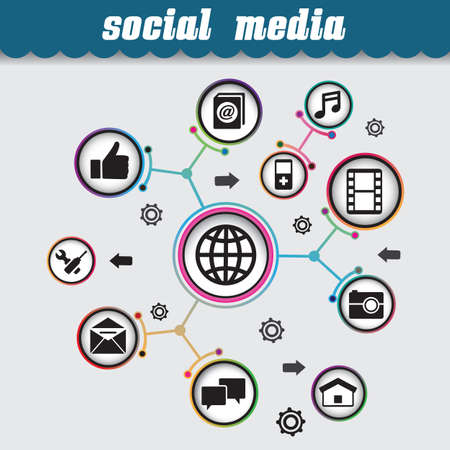 Concept of social media - illustration Illustration