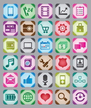 Set of colorful web buttons - vector icons Stock Vector - 16756603