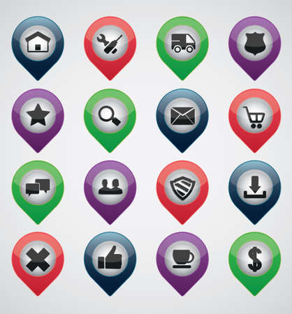 marketting: Set of colorful pointer of social media business - icons