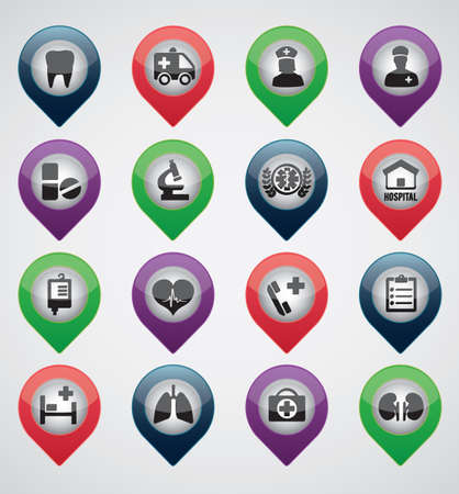 navigation aid: Set of medical pointers - icons