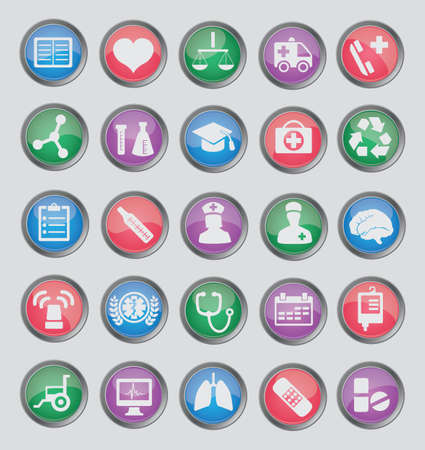 Set of colorful medical buttons for design - part 1 - icons Stock Vector - 16756475