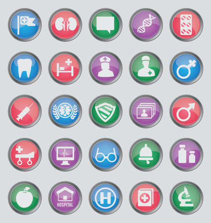 Set of colorful medical buttons for design - part 2 - icons Stock Vector - 16756473