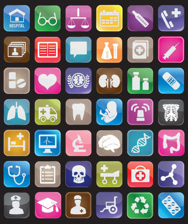 pediatrics: Set of square medical buttons for design - icons