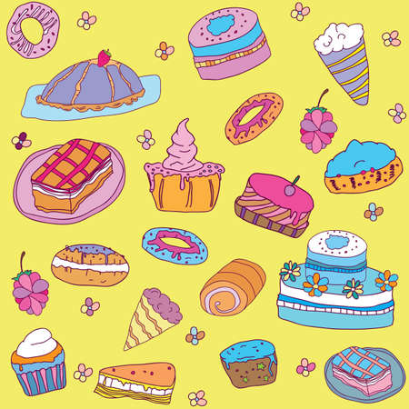 swiss roll: seamless colorful cake pattern - hand drawn background