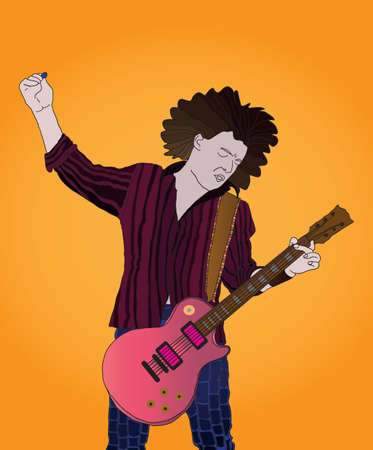 guitariste rock: guitariste de rock abstrait - illustration