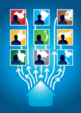 social network people in different countries - illustration Stock Vector - 16756541