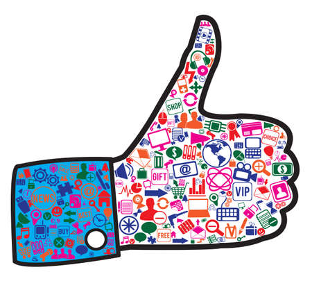 smm: hand with social media icons -  illustration