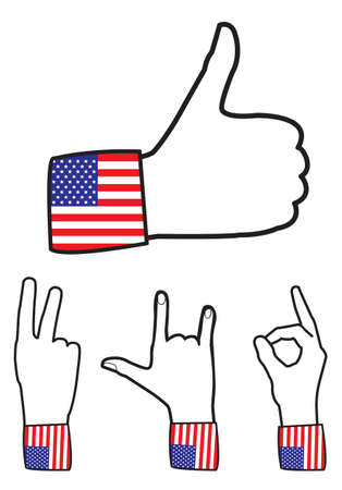 like sign with american flag -  illustration Vector