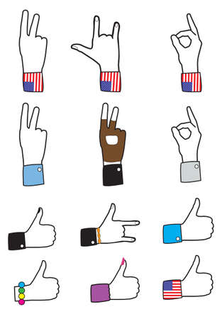 set of different hands signs -   illustration Vector