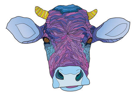 rural india: head of the psychedelic cow -  illustration