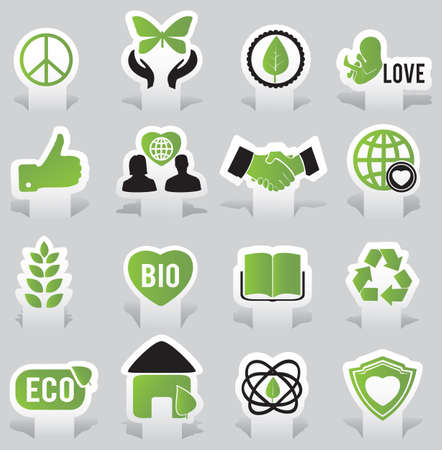 labels  eco -  illutration Stock Vector - 17569791