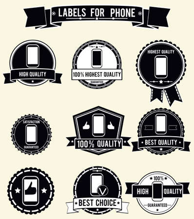 labels for phone with vintage styled design   Stock Vector - 17569849
