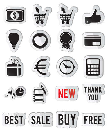 frac12: set o&iuml,&iquest,&frac12, business stickers -  illustration