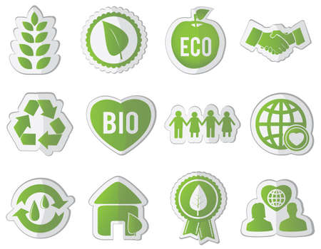 set of eco stickers -  illustration Stock Vector - 17569778