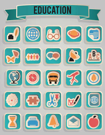 school schedule: set of education icons  Illustration