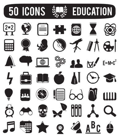 academics: set of education science icons -  illustration