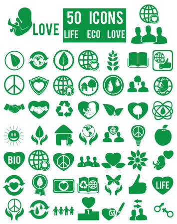 set of life eco love icons  Vector