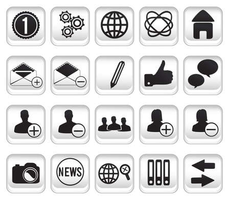 set community buttons icons Stock Vector - 17569753