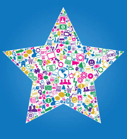 star with social media icons -  illustration Stock Vector - 17569936