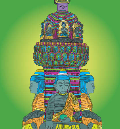 psychedelic buddha -  illustration Stock Vector - 17569938