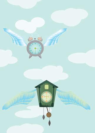 clock sky blue Illustration