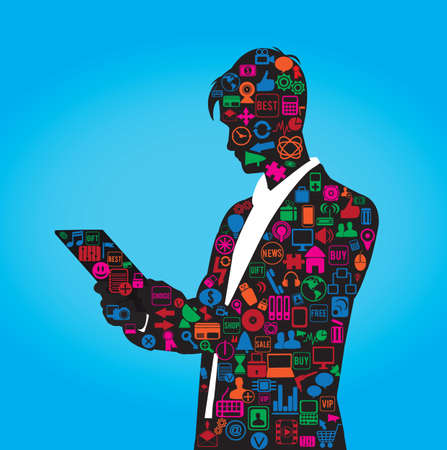users video: the silhouette of businessman with set of social media symbols -  illustration