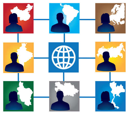 interracial: Grupo de amigos interraciales - ilustraci�n Vectores