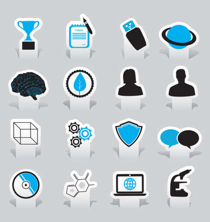 study icon: Labels for education and science -  illustration Illustration