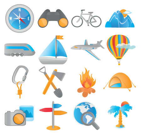 beach cruiser: set of tourism icons for web applications