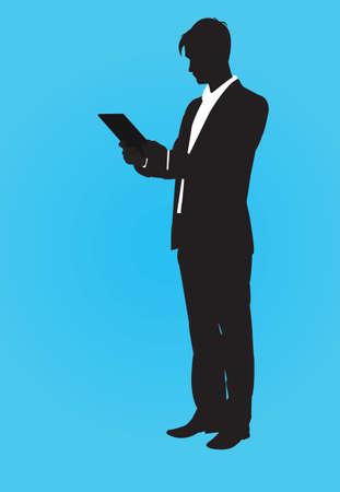man holding book:  contour man