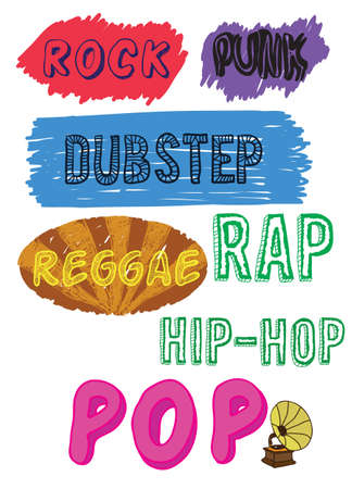 dubstep: doodle music styles -  illustration