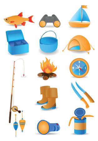 fishing bobber: Fishing icons set