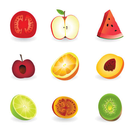 fresh fruits in segments Stock Vector - 17569745