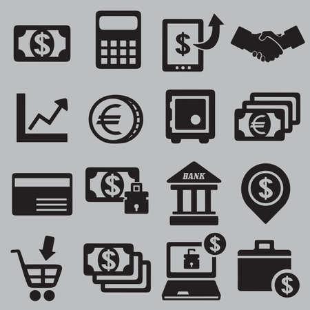 cash money: Conjunto de iconos de dinero - iconos vectoriales Vectores