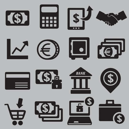 handclasp: Set of money icons - vector icons