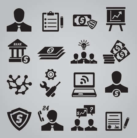 company profile: Set of business icons - vector icons