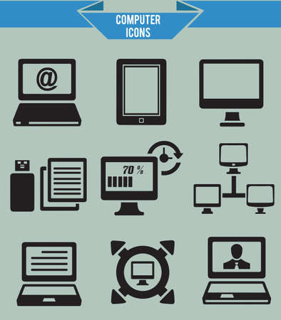 Set of computer icons - vector icons Stock Vector - 19085064