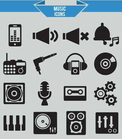 audio mixer: Set of musical icons - vector icons