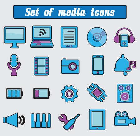 pc tune: Set of multimedia icons  - vector cartoon illustration
