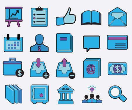 Set of  business icons - vector cartoon illustration Vector
