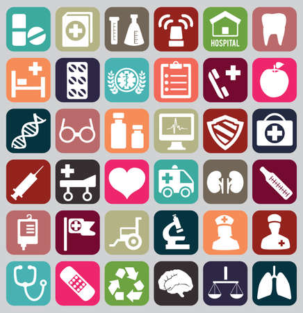 Set of vintage medical icons - vector icons