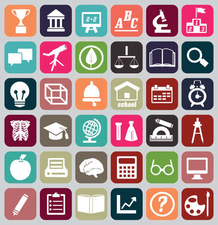cognition: Set of education icons - vector icons