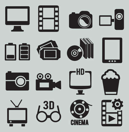 hd video: Set of video icons - vector icons Illustration